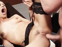 Asian, Big Cock, Cumshot, Secretary, Stockings