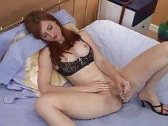 Lingerie, Masturbation, Redhead