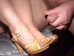 Cumshot, Foot Fetish, Stockings